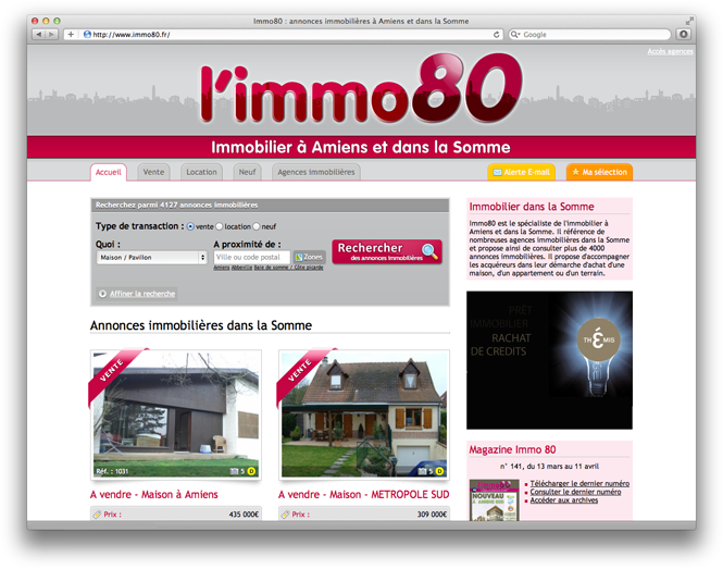 creation site immobilier immo80