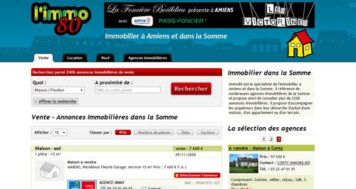 Cration du site Immobilier :  Immo80 une nouvelle version