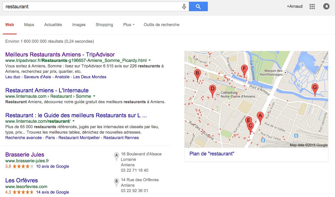 Restaurant sur Google