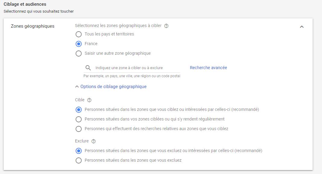 Options de ciblage avancé Google Ads