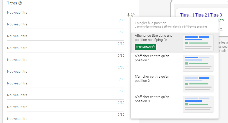 Annonce Responsive Search Ads