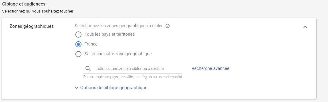 CIblage géographique Ads