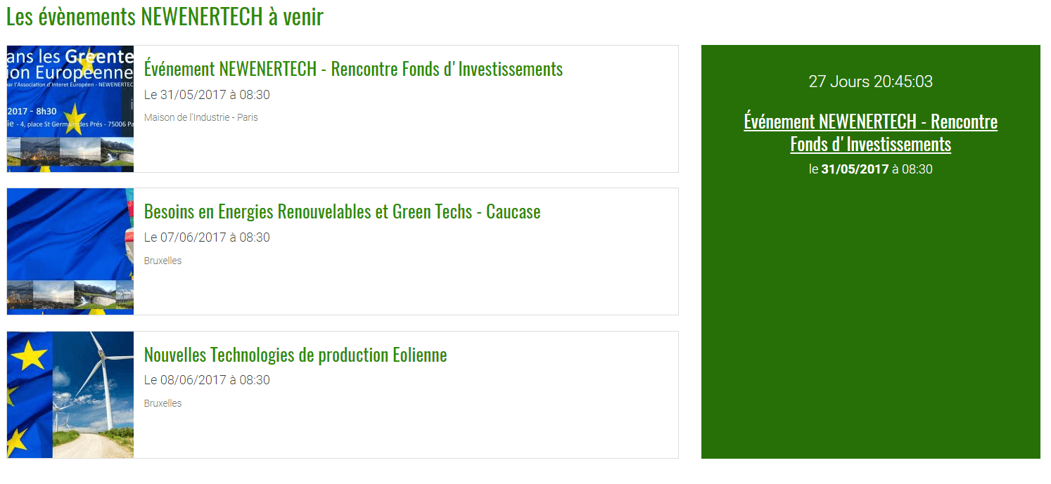 Agenda évènements Newenertech