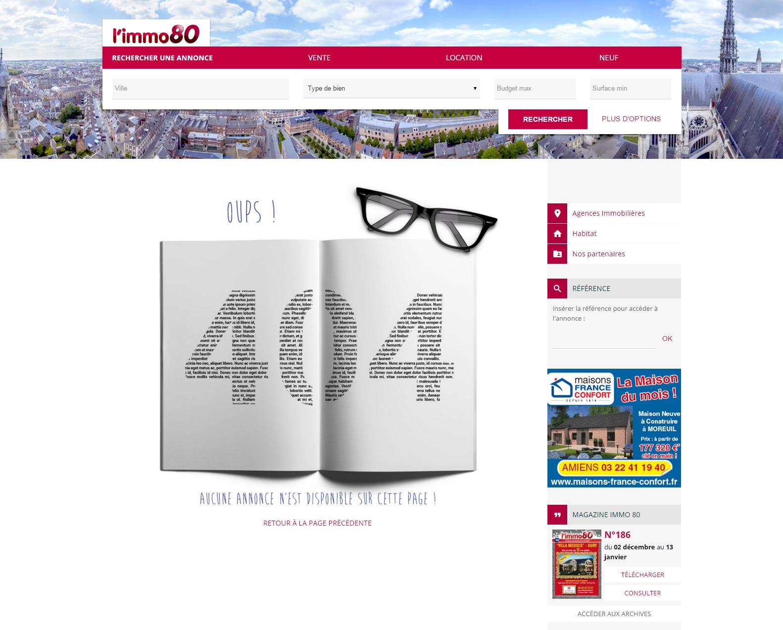 Erreur 404 page introuvable