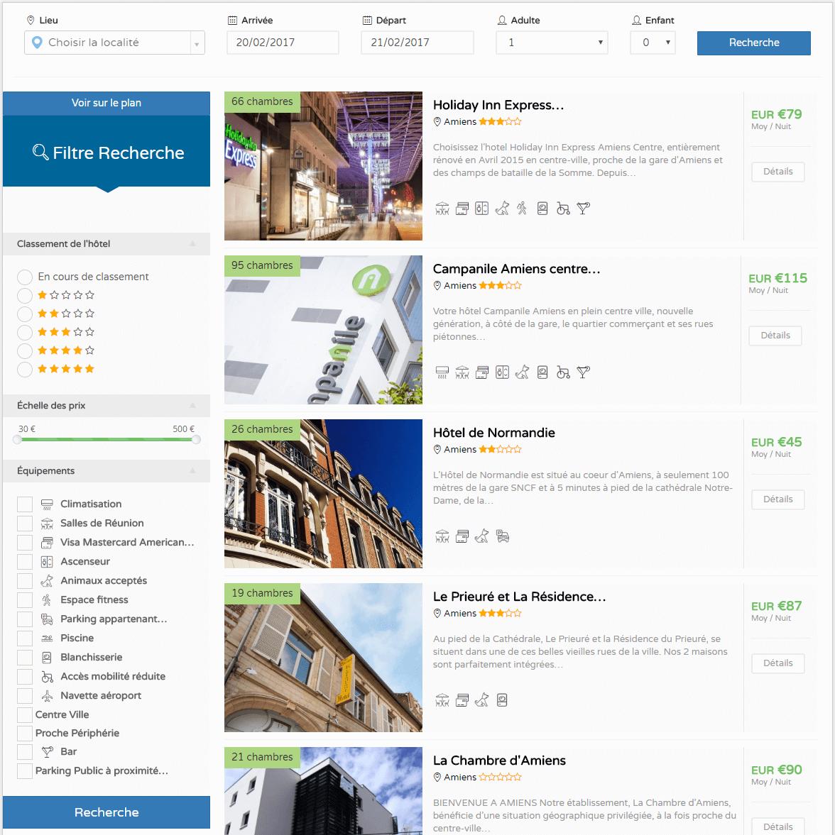 Système de recherche sur Hotels Amiens