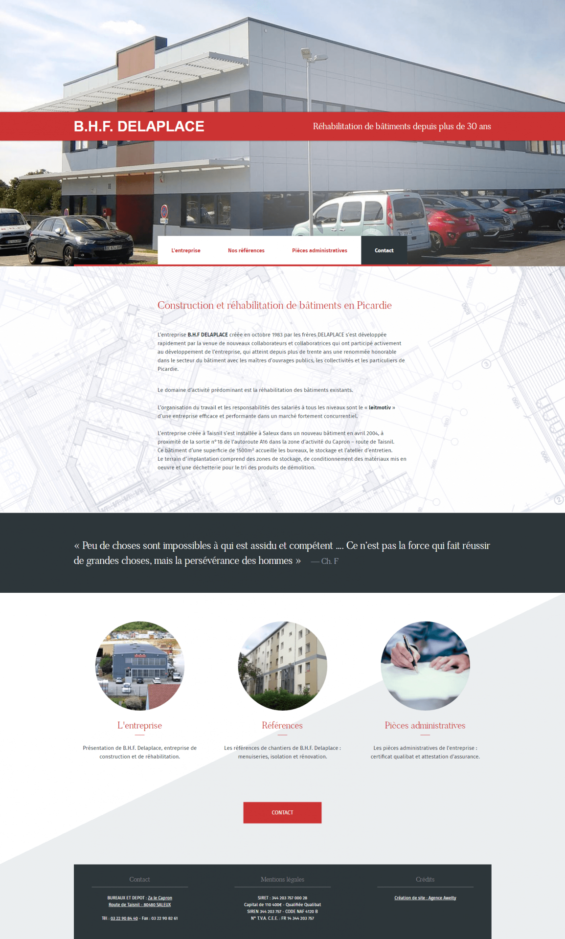 Cr ation du site de l 39 entreprise b h f delaplace - Rehabilitation de batiment ...