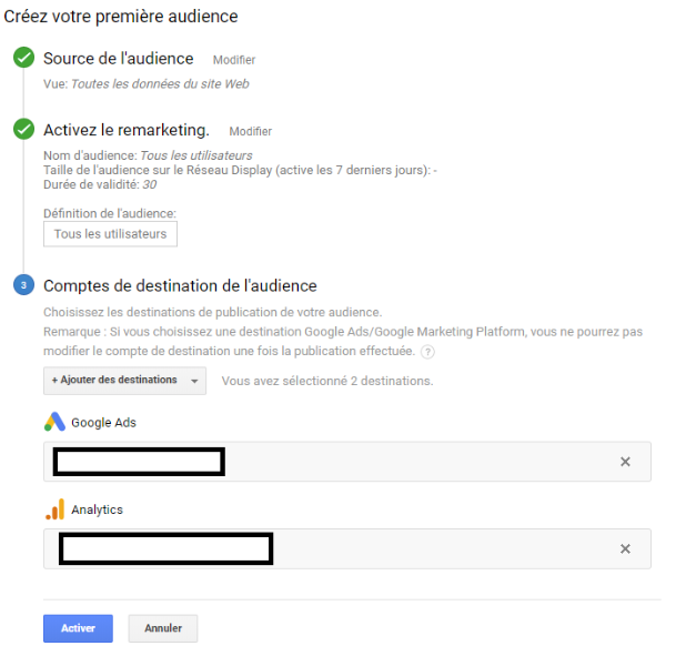 Liste de remarketing Google Analytics
